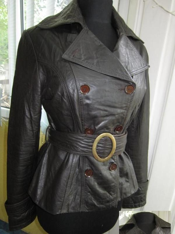 Демисезонная женская кожаная куртка с поясом powar.  германия....