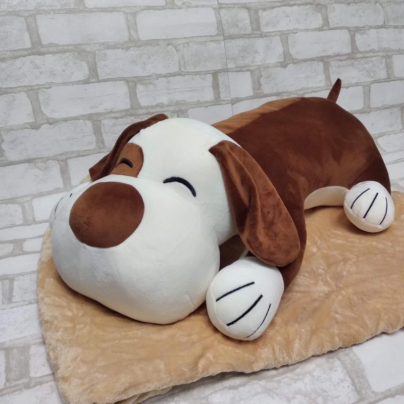 Детский плюшевый плед игрушка подушка 3 в 1 собака коричневая