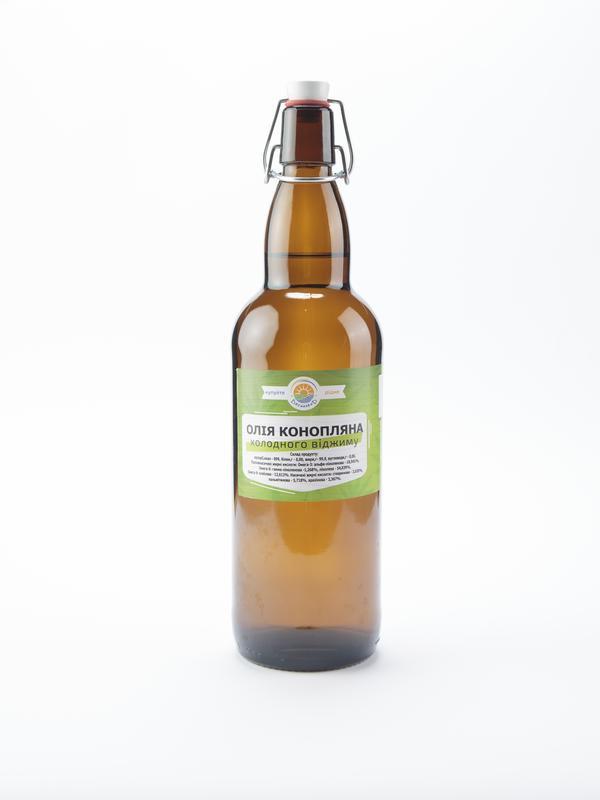 Олія конопляна (першого холодного віджиму) 1000 мл (скляна пляшка
