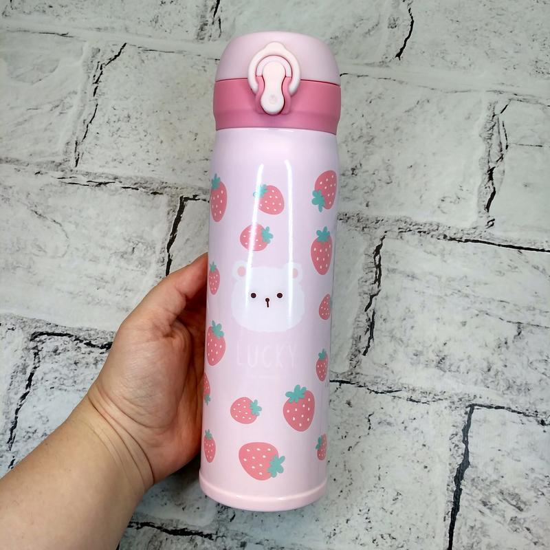 Термос термокружка lucky термочашка, розовый, 500 мл