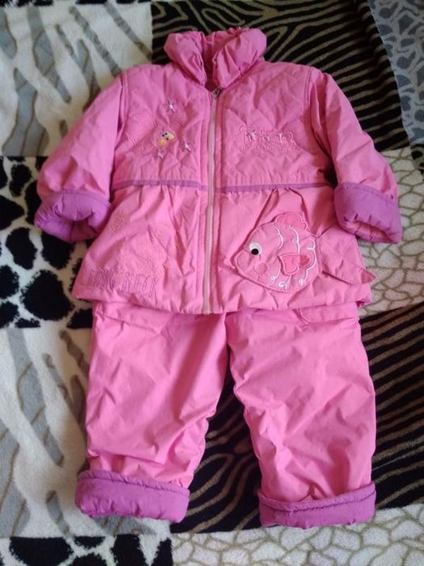 Теплый комплект до 2 лет, комбинезон куртка зима-весна