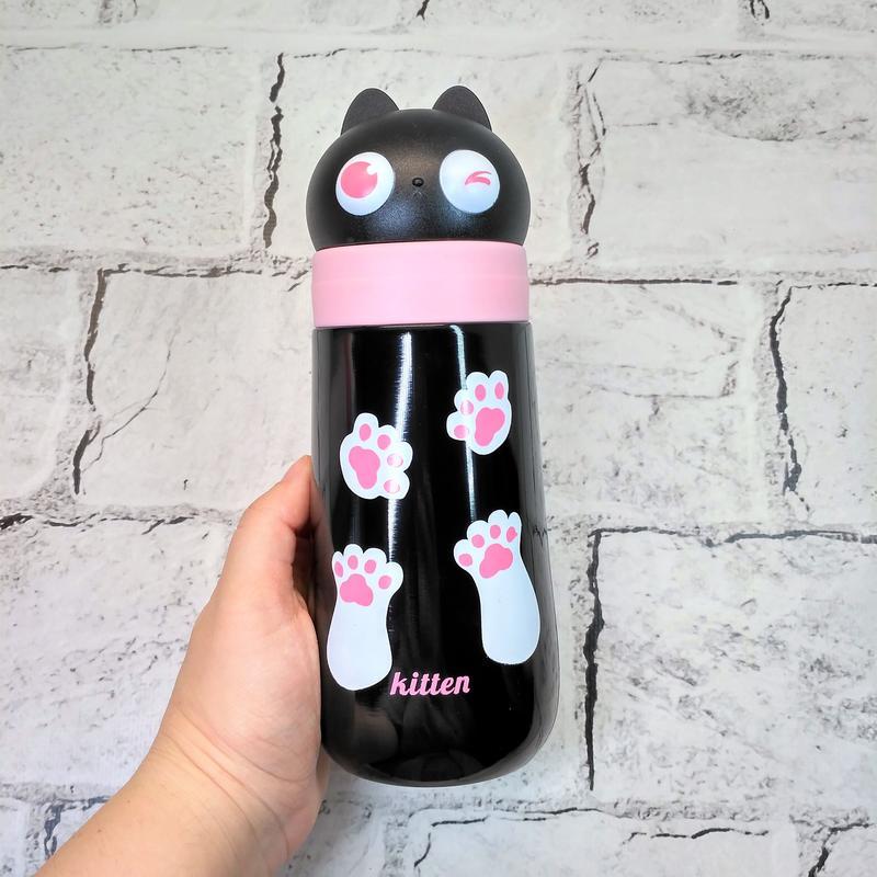 Термос термокружка котик с ушками, черный, 400 мл