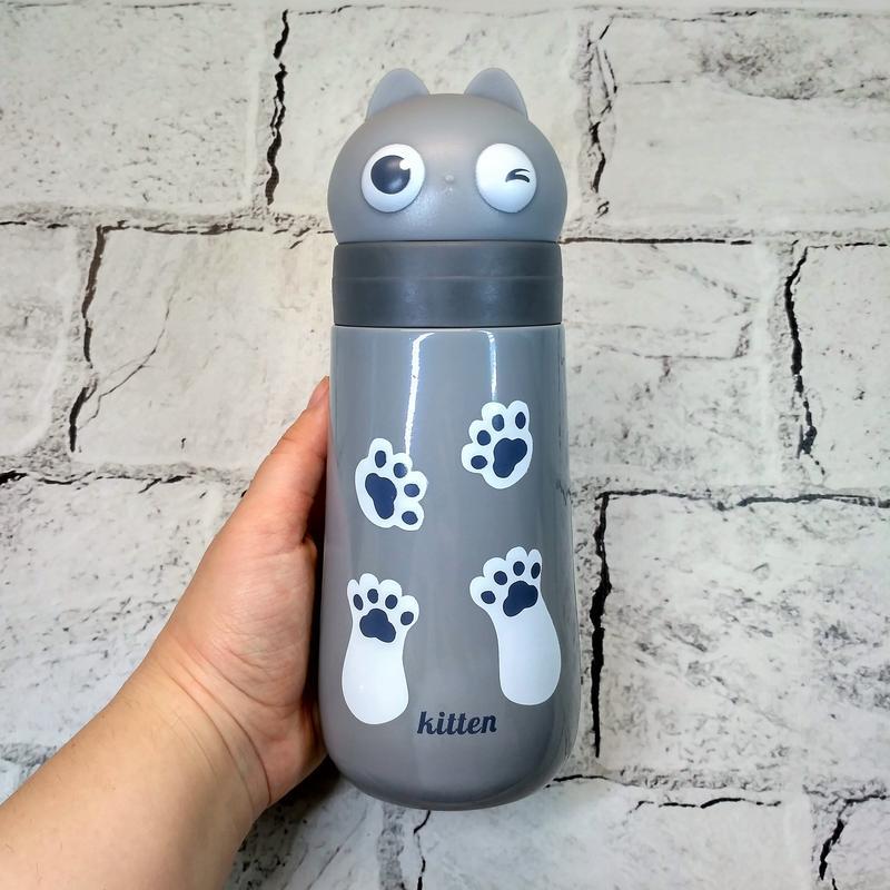 Термос термокружка котик с ушками, серый, 400 мл
