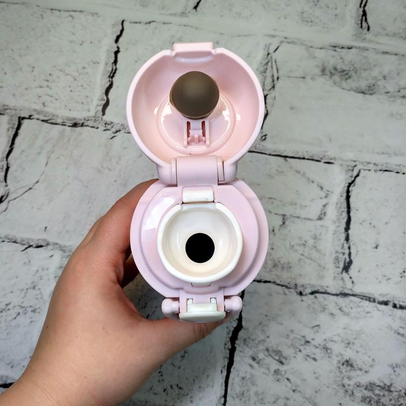 Термос термокружка мишка термочашка, розовый, 350 мл - Фото 2
