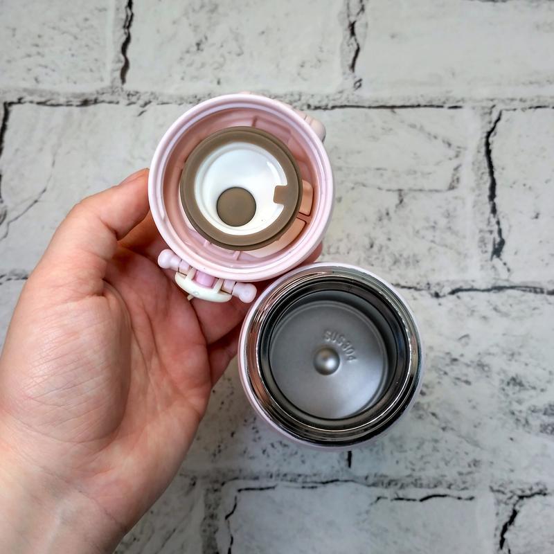 Термос термокружка мишка термочашка, розовый, 350 мл - Фото 3