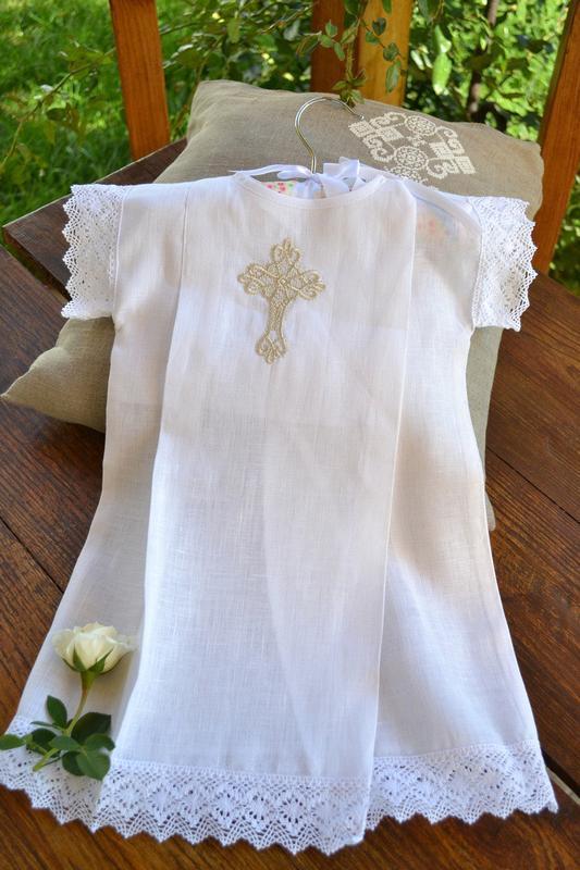 Льняная рубашка для крещения, одежда крестильная
