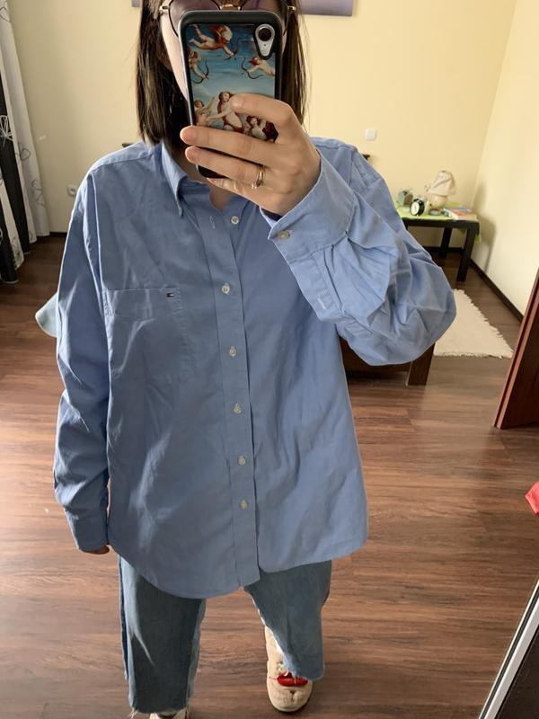 Чоловіча синя сорочка tommy hilfiger мужская синяя рубашка