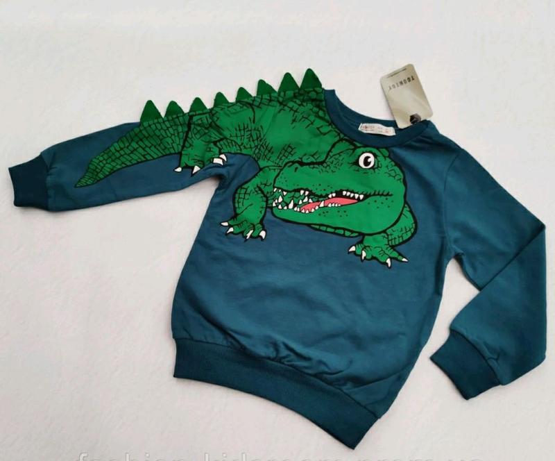 Кофта реглан джемпер двухнитка с крокодилом 3-7 лет