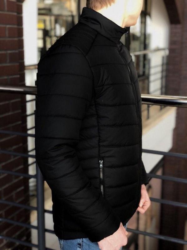 Мужская весенняя  чёрная куртка пуховик (осень) - Фото 2