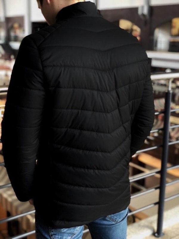 Мужская весенняя  чёрная куртка пуховик (осень) - Фото 3