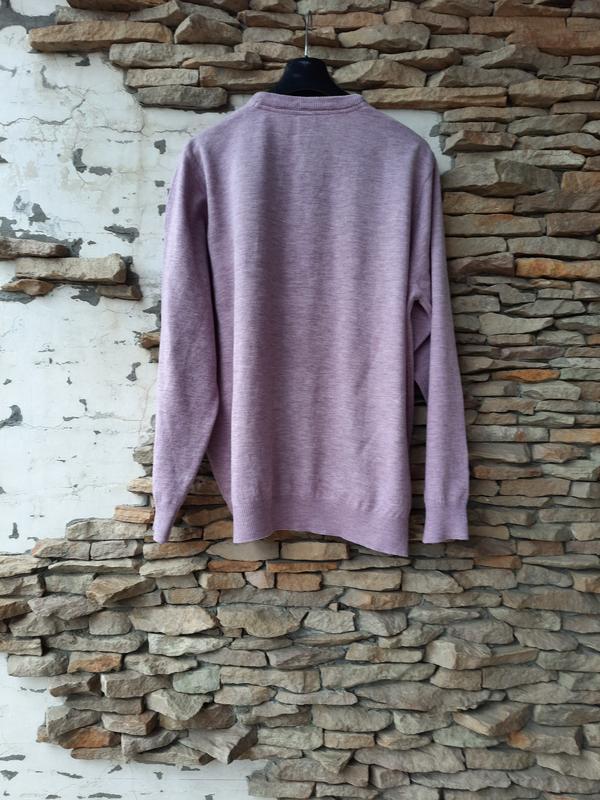 Теплый трикотажный пуловер большого размера - Фото 3