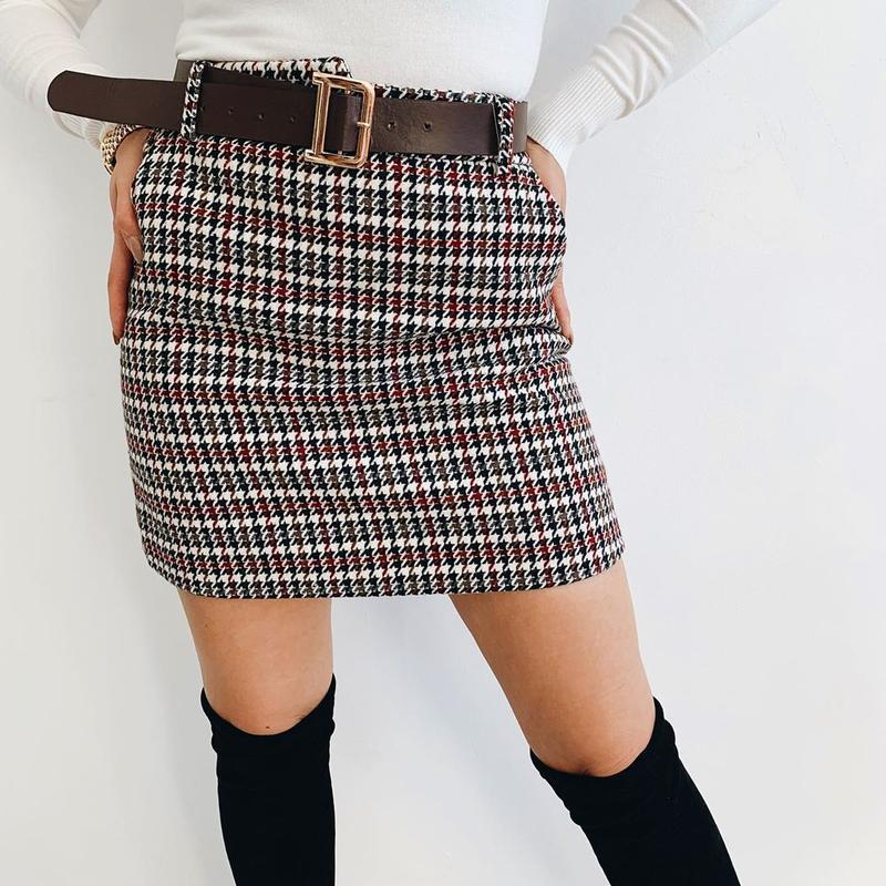 Юбка твид, теплая юбка
