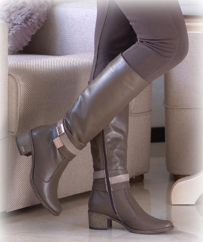 Демисезонные классические кожаные сапоги бежевые кофейные на у... - Фото 2