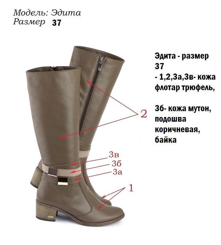 Демисезонные классические кожаные сапоги бежевые кофейные на у... - Фото 3