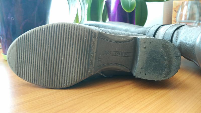 Демисезонные классические кожаные сапоги бежевые кофейные на у... - Фото 7