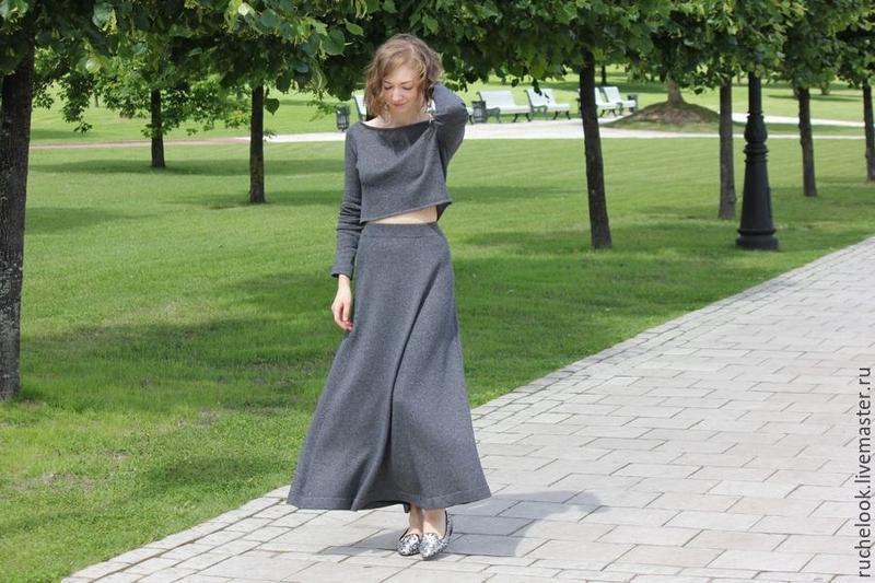 Тёплая шерстяная длинная юбка в пол, макси юбка,шерсть