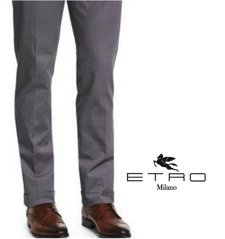 Etro оригинал micro celll классические брюки прямого кроя.в ид...