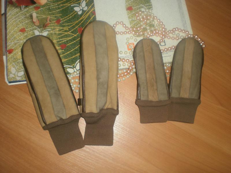 Шикарні мегакласні та тепленькі рукавички (варежки) нубук+вовн...