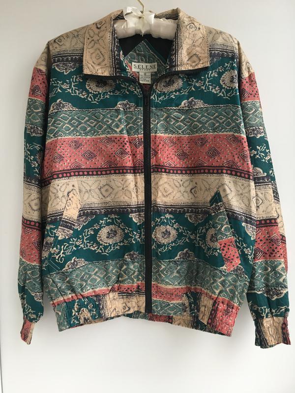 Шелковый бомбер , курточка куртка ветровка, натуральный шёлк ш...