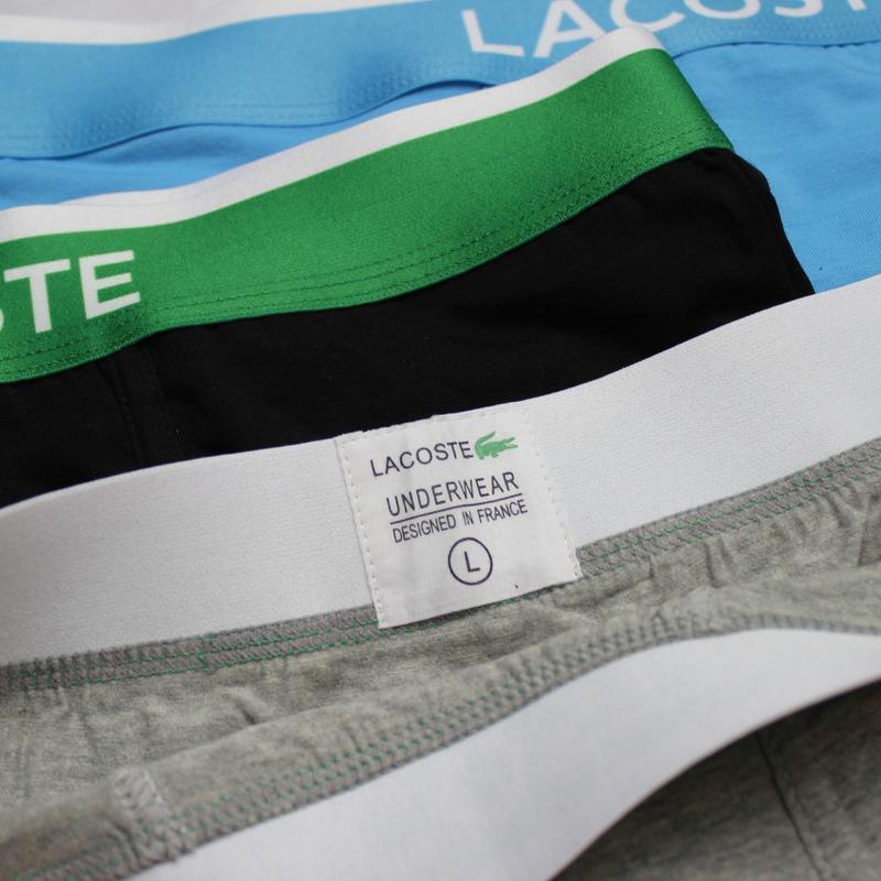 Мужские трусы боксеры шорты нижнее белье Lacoste 3шт - Фото 9