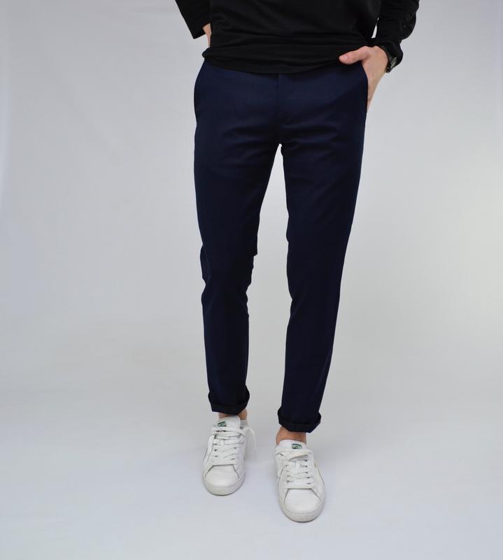 Теплые фирменные мужские брюки темно-синего цвета шерсть класс...
