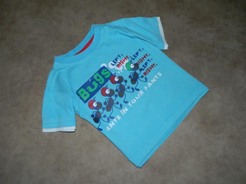 Футболка детская голубая с муравьями на мальчика 12-18 месяцев...