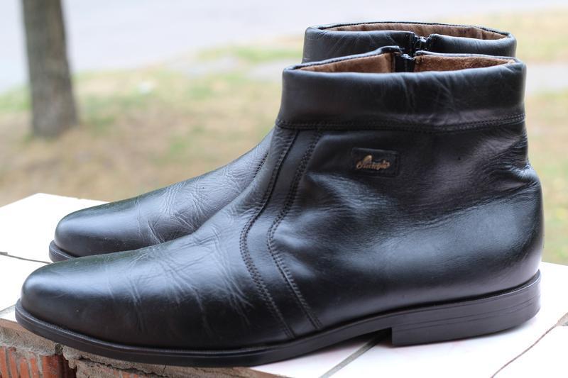 Кожаные ботинки, сапоги на цигейке 49-50. редкий размер!!!