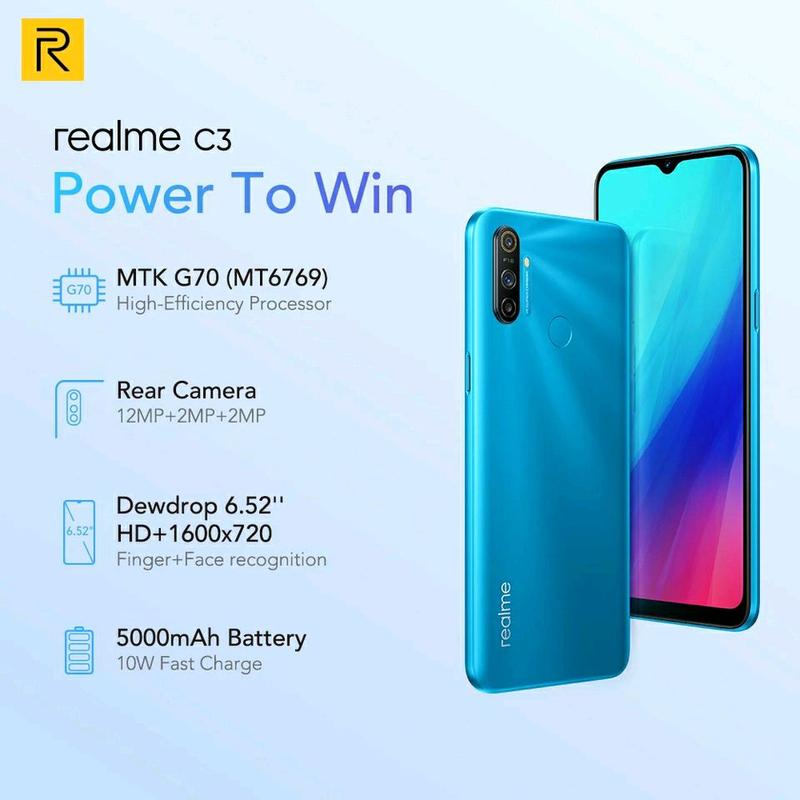 "Realme C3, экран 6.5"", NFC, 5000mAh, 3/64Gb, Android 10 - Фото 3"