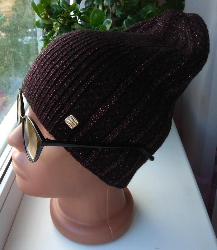 Новая вязанная шапка с люрексом, черная