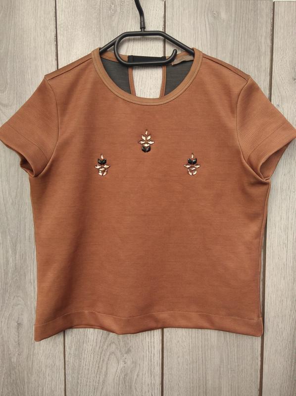 Zara блузка футболка нарядная с камнями s 36 8