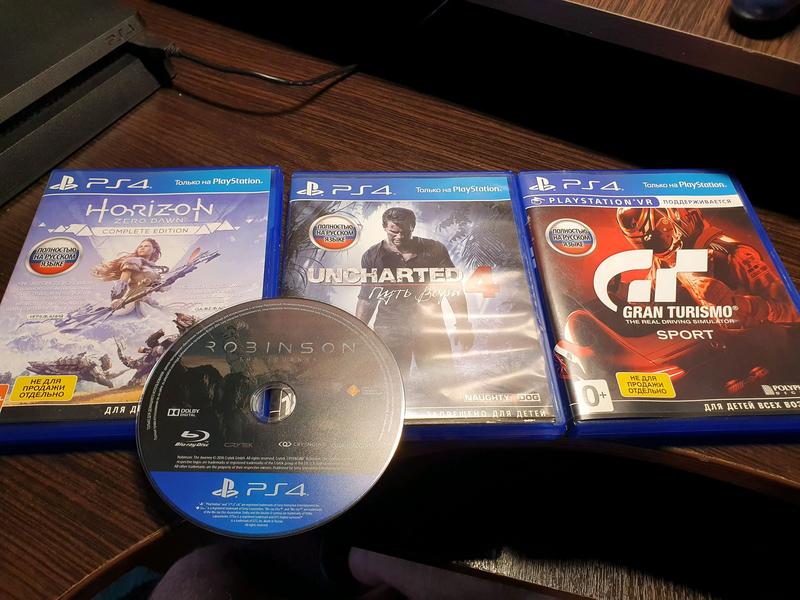 Диски ps 4 Horizon,Gran turismo,Uncharted 4,Robinson VR