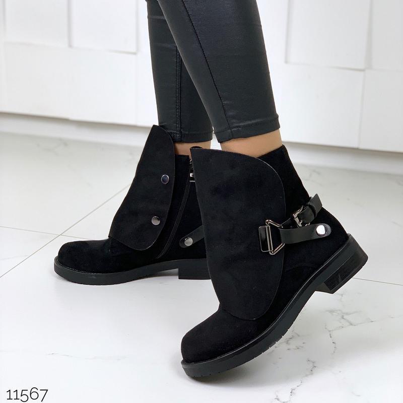 Стильные чёрные замшевые ботинки на низком ходу,замшевые демис...