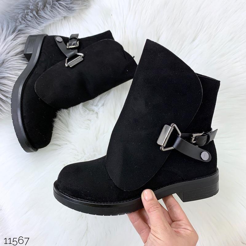 Стильные чёрные замшевые ботинки на низком ходу,замшевые демис... - Фото 2