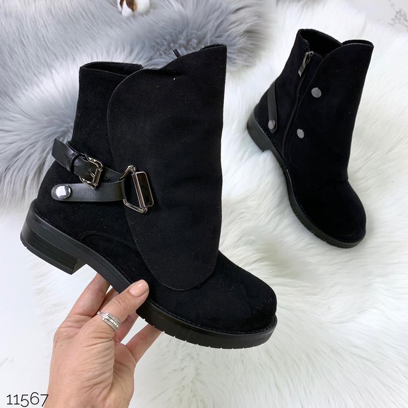 Стильные чёрные замшевые ботинки на низком ходу,замшевые демис... - Фото 3