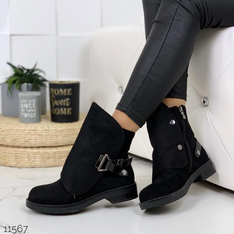 Стильные чёрные замшевые ботинки на низком ходу,замшевые демис... - Фото 4