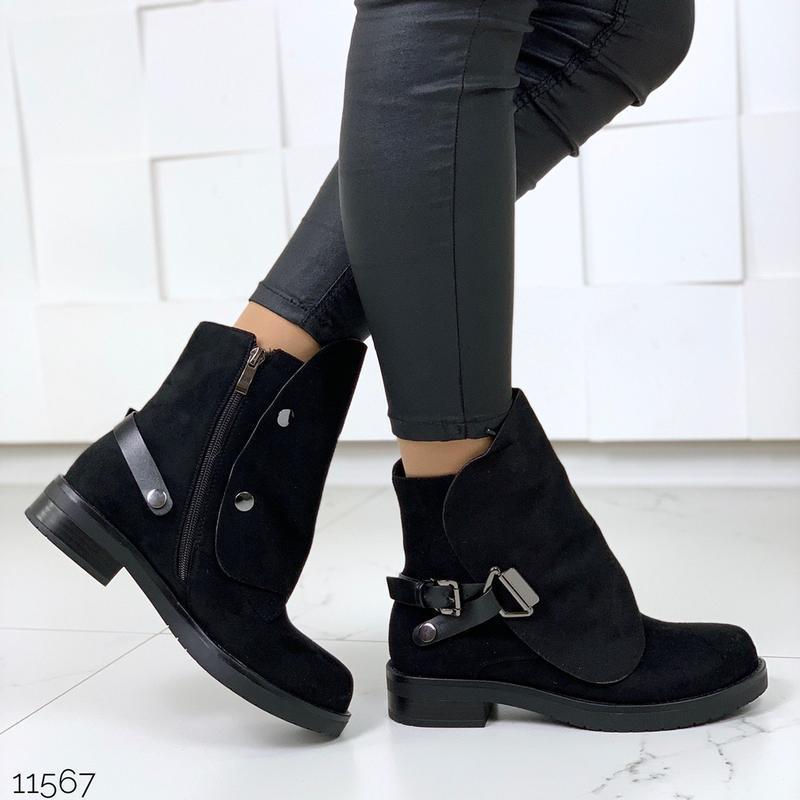 Стильные чёрные замшевые ботинки на низком ходу,замшевые демис... - Фото 5