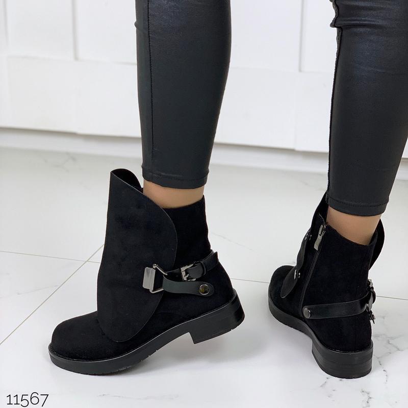 Стильные чёрные замшевые ботинки на низком ходу,замшевые демис... - Фото 6