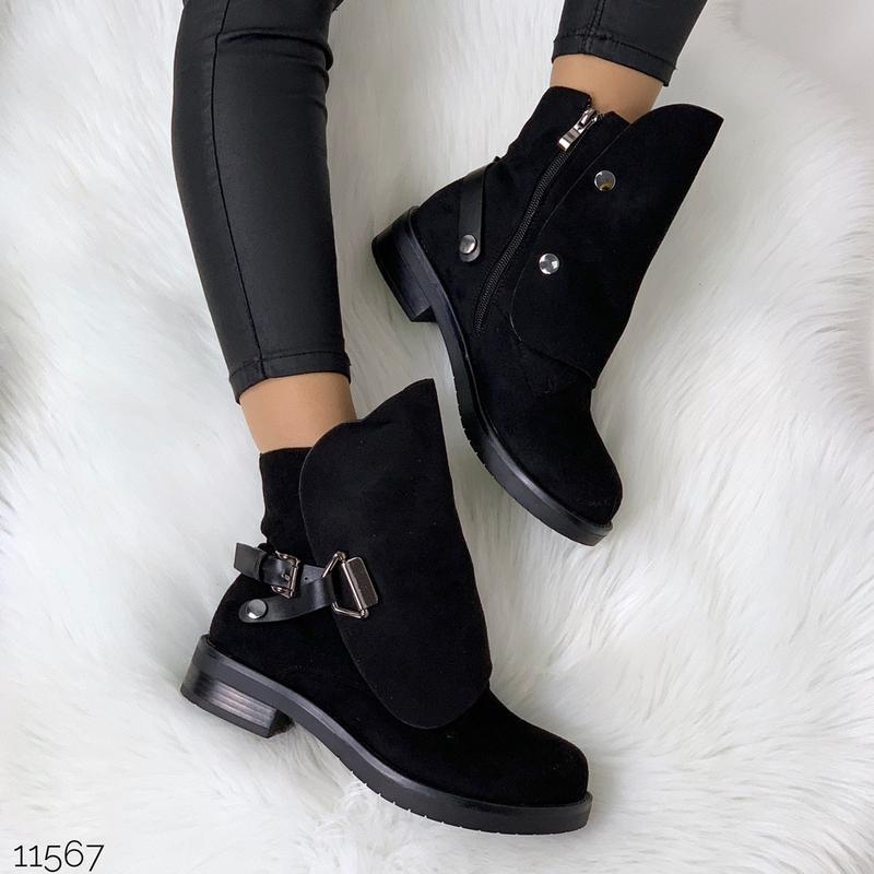 Стильные чёрные замшевые ботинки на низком ходу,замшевые демис... - Фото 7