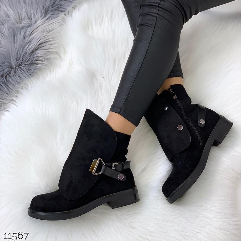Стильные чёрные замшевые ботинки на низком ходу,замшевые демис... - Фото 8