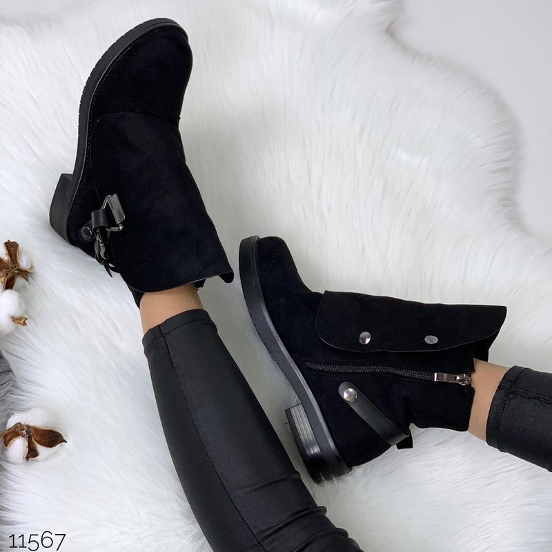 Стильные чёрные замшевые ботинки на низком ходу,замшевые демис... - Фото 9