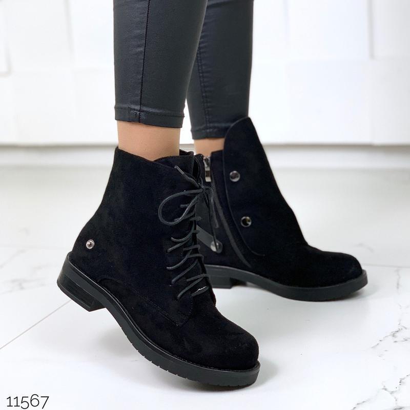 Стильные чёрные замшевые ботинки на низком ходу,замшевые демис... - Фото 10