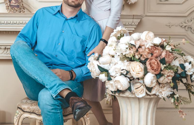 Мужская голубая рубашка l новая