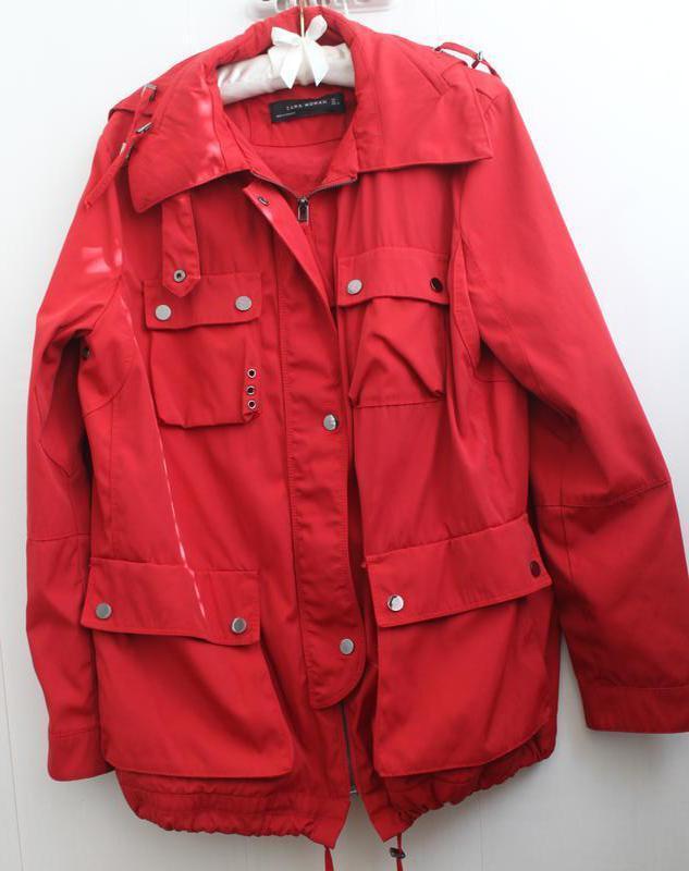 Модная куртка парка, ветровка демисезонная не  с капюшоном кра...