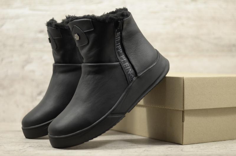 Натуральная кожа мужские зимние кожаные ботинки сапоги угги