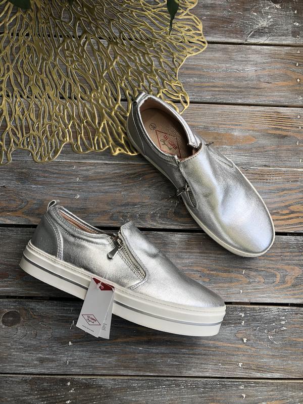 ▪️lee cooper серебристые слипоны туфли кеды на платформе