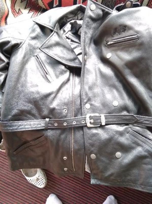 AJS Biker куртка кожаная размер 52-54 косуха мотокуртка байкер... - Фото 7