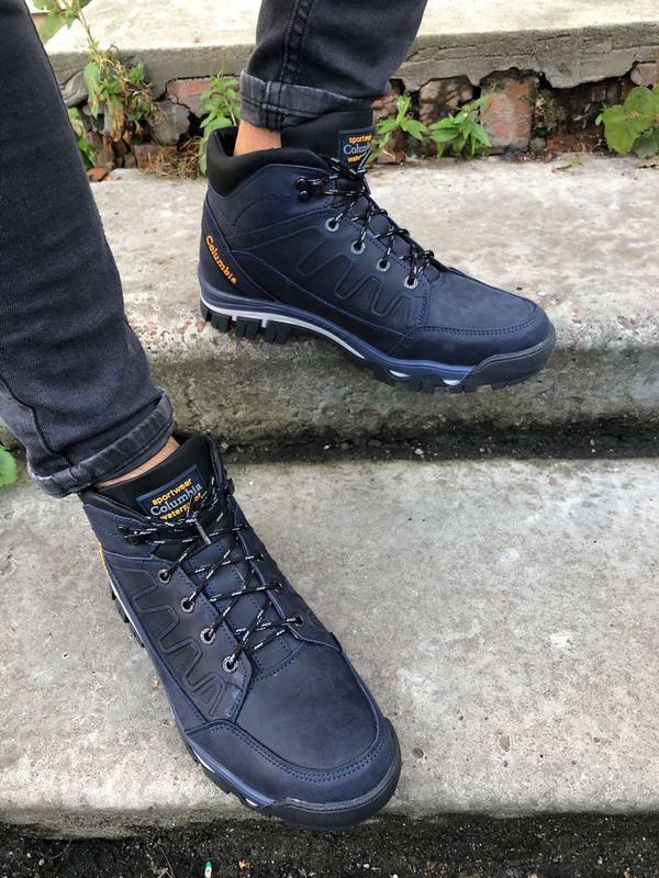 Мужские зимние ботинки, синяя кожа crazy - Фото 2