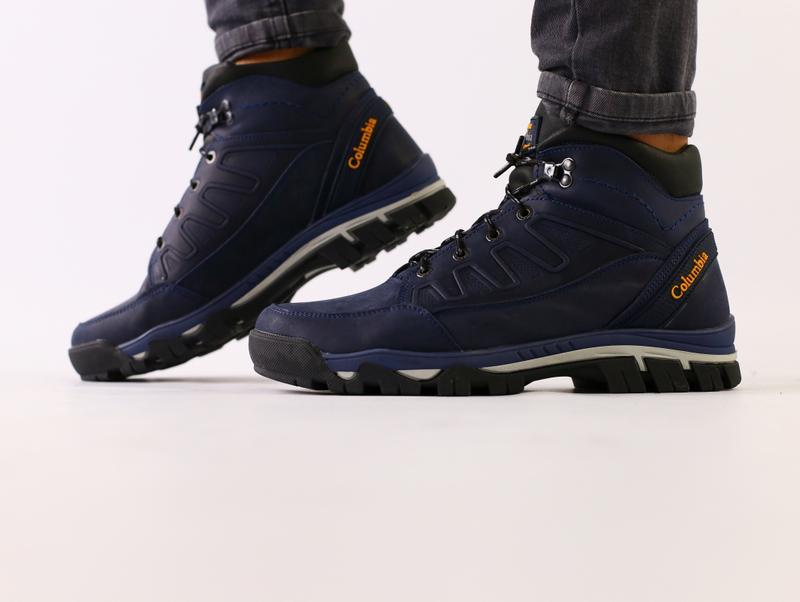Мужские зимние ботинки, синяя кожа crazy - Фото 3