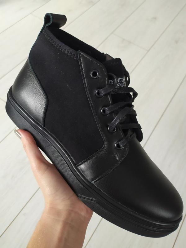 Мужские зимние черные ботинки из кожи и замши - Фото 2