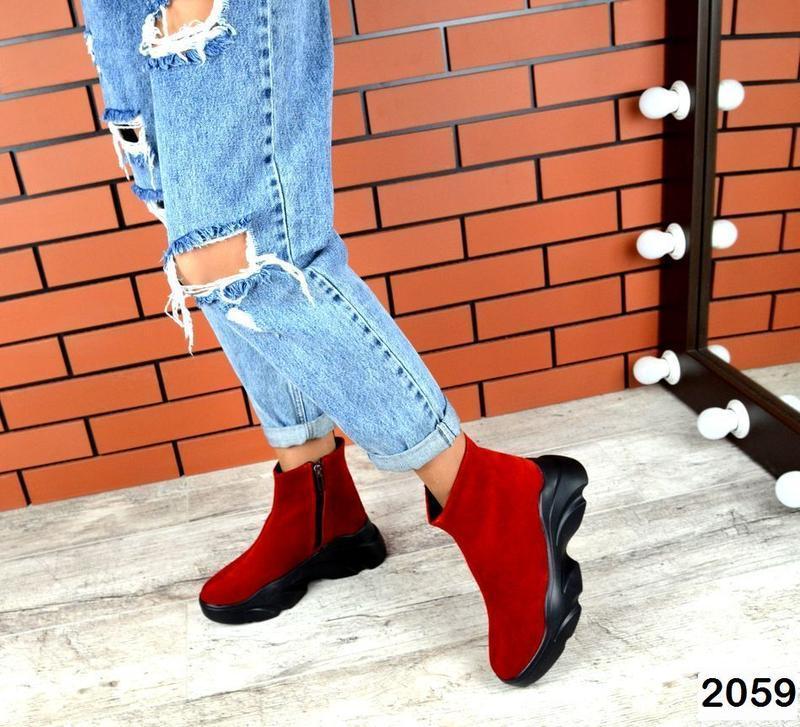 Натуральные красные зимние ботиночки
